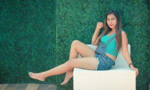 Jayani Alahapperuma Sexy Legs in Denim Shorts