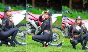 Zara Elizabeth Poses With CRF Bike