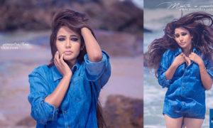 Ashiya Dassanayake Blue Denim Short Hot Photos