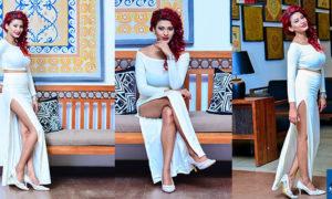 Chamathka Lakmini Strikes A Pose Looking Beautiful In A White Dress