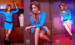 Chandi Anupama Hot Sexy Blue Dress