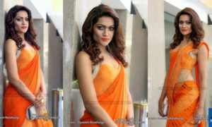 Chulakshi Ranathunga Hot In Orange Saree Photos