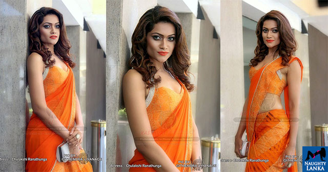Chulakshi Ranathunga Hot In Orange Saree Photos