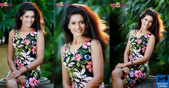 Chulakshi Ranathunga In Colorful Dress Cute Smile