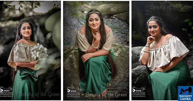Dilini Lakmali Hot Photoshoot In Green Dress