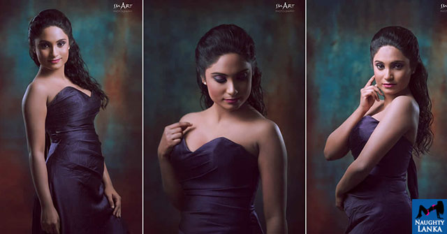 Dulanjalee Rupasinghe Hot In Dark Purple Dress