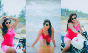 Gallege Hansani Looks Beach Ready In Hot Pink Shorts