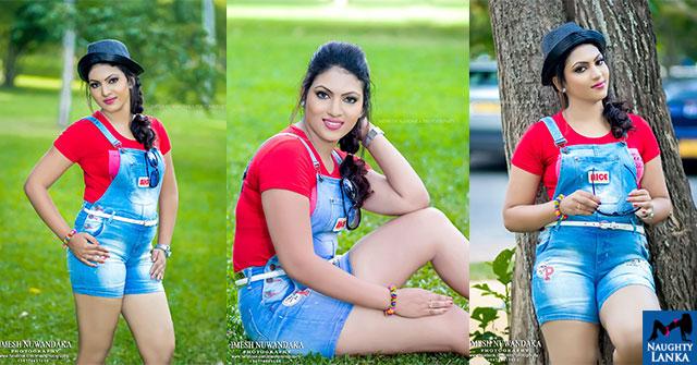 Gayathri Kanchanamali Blue Denim Dress Hot Photos