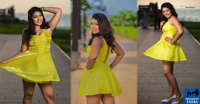 Gayathri Kanchanamali Sexy In Yellow Mini Dress