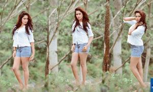 Ishi Amarasinghe Sexy In Denim Shorts