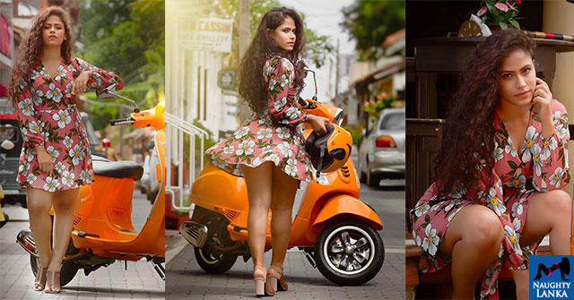 Sandani Fernando Hot Bike Photoshoot
