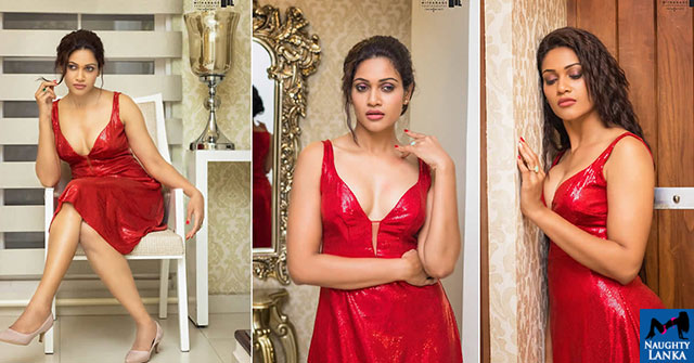 Chulakshi Ranathunga Red Long Dress