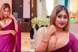 Kaushi Perera Hot Saree Cleavage