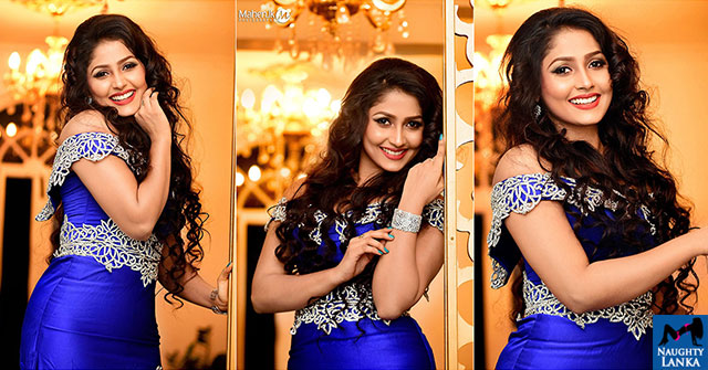 Nayanathara Wickramarachchi Blue Dress Hot Photos